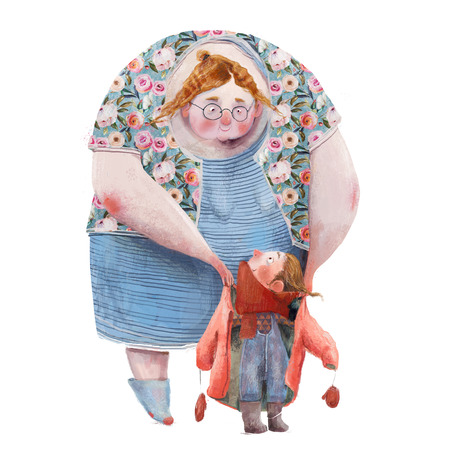 old woman with little girl - watercolor clipart