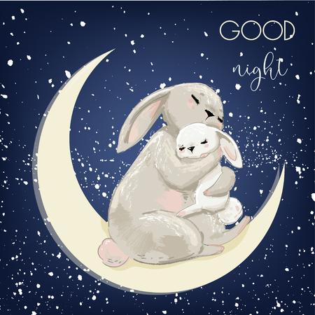 cute hare mom with sleeping kid