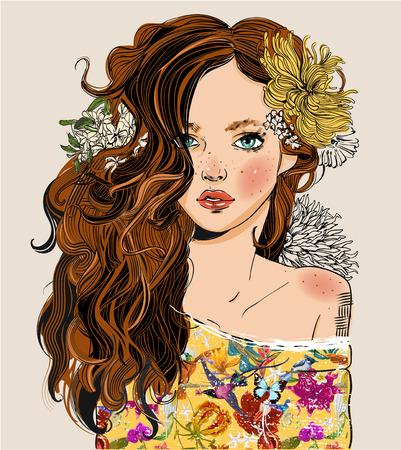 Porträt der jungen schönen Frau mit Blumen