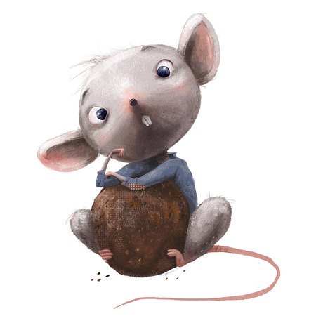 cute little mouse with chocolate Stock Photo