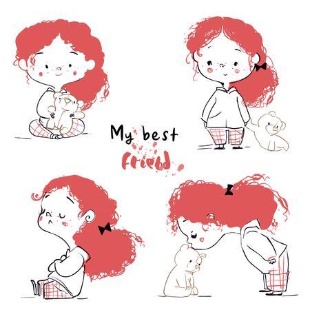 schattig klein tekenfilmmeisje met teddybeer