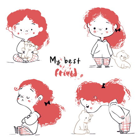 simpatica bambina cartone animato con orsacchiotto