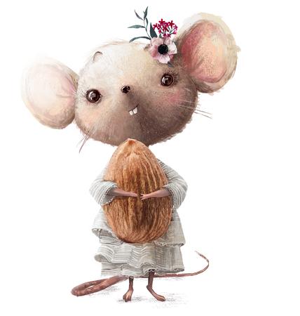 süßes kleines Mäusemädchen mit Mandel