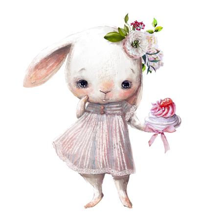 cute little bunny girl with sweet cake Banco de Imagens