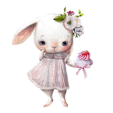 simpatica coniglietta con torta dolce