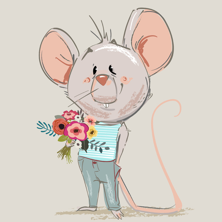 cute little mouse boy with floral wreath