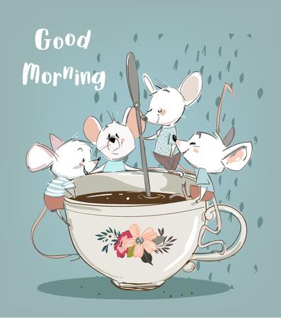 quatre petites souris avec une tasse de café