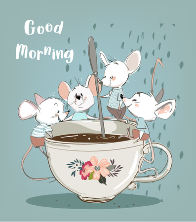 four little mouses with coffee cup