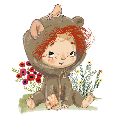 cartoon baby girl with red curled hairs and bird Stock Illustratie