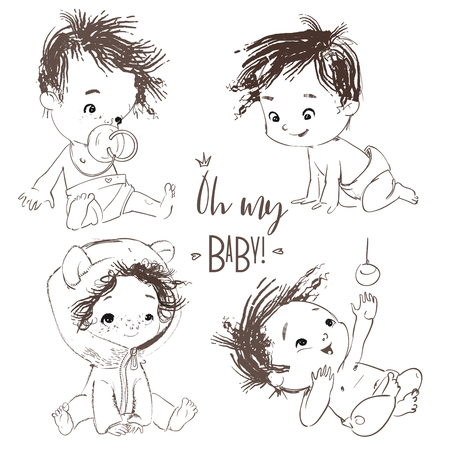 lovely collection with cartoon little baby boy Imagens - 122814137
