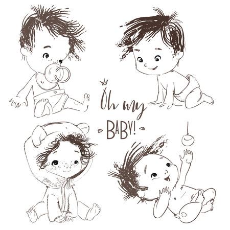 belle collection avec dessin animé petit bébé garçon Vecteurs
