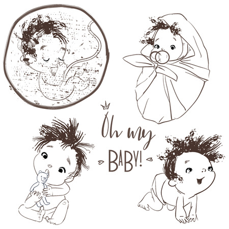 lovely collection with cartoon little baby boy Imagens - 122776828