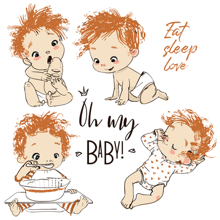 lovely collection with cartoon little baby boy Imagens - 122601086