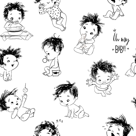 lovely seamless background with cartoon little baby boy
