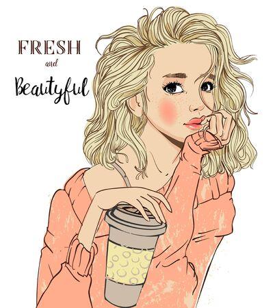 retrato, de, mujer joven, retrato, con, café