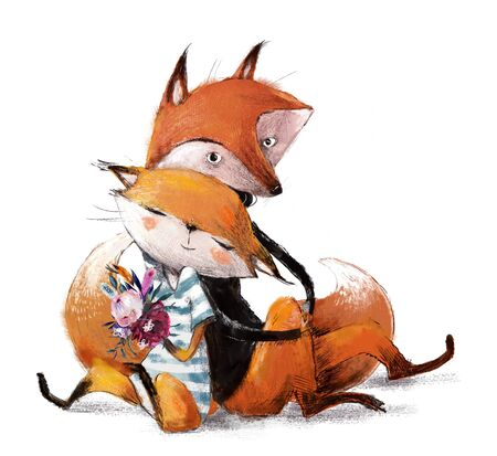 cute lovely couple of foxes Imagens