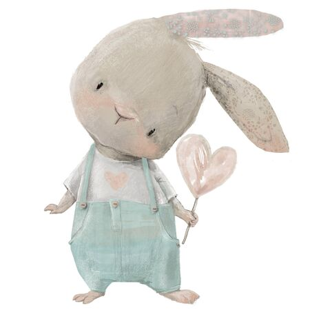 cute white hare with heart in hand Banque d'images - 128749446