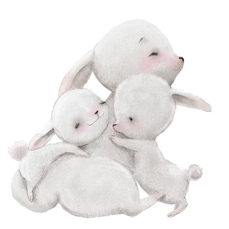 cute hare mom with her hare kids Archivio Fotografico