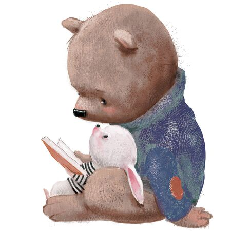 cute bear with little hare and book Archivio Fotografico