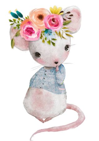 cute little mouse girl with floral wreath