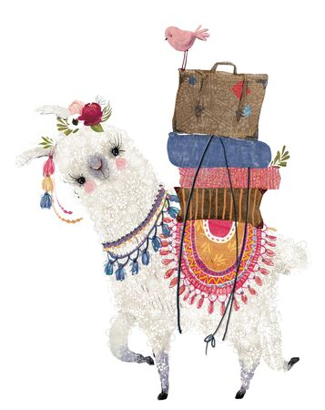 cute cartoon lama with bird and bags