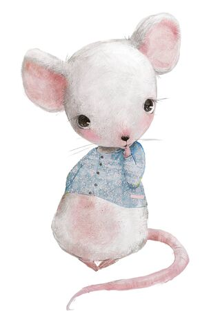 cute little mouse girl with blue sweater Imagens