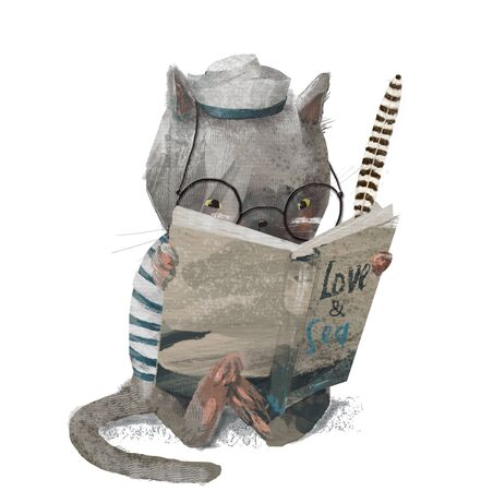 cute kitten with glasses reding a book