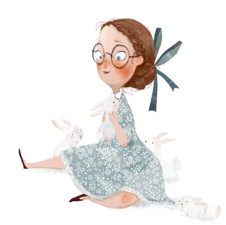 lovely cartoon girl with glassesgirl play with white hares Stockfoto