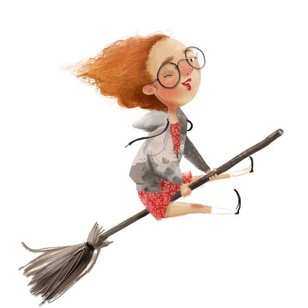 funny red haired girl witch on a broomstick