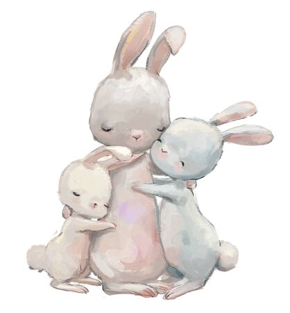 cute hare mom with her hare kids Stockfoto