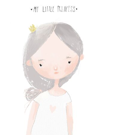portrait of cartoon little girl with crown