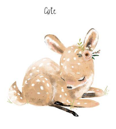 kleiner Cartoon schönes Rehkitz mit Blumenkranz Standard-Bild