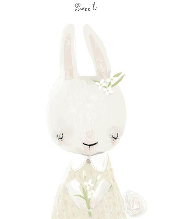 cute little bunny girl with flower