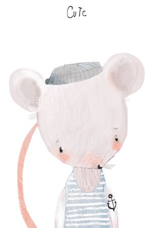 portrait of cute little mouse with hat