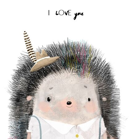 cute little Hedgehog boy with hat and feather Stockfoto