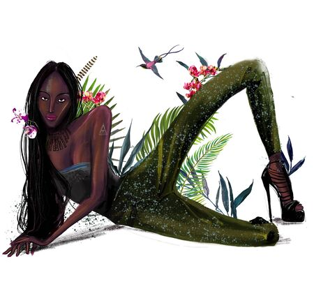 black exotic model with flowers