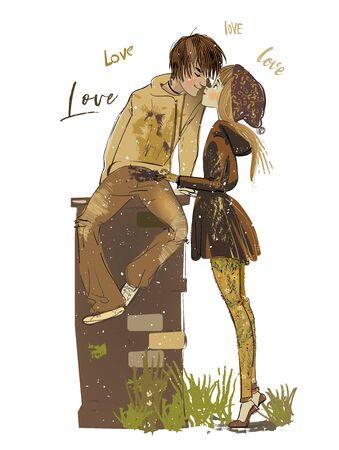 niño y niña de dibujos animados besándose en la calle Ilustración de vector