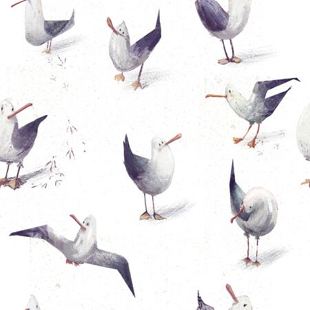 seamless pattern with cute cartoon sea gulls Imagens