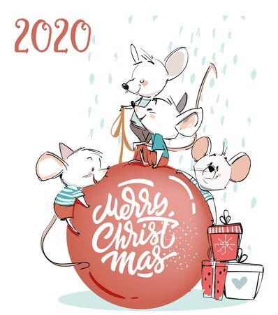four little mouses with christmas ball