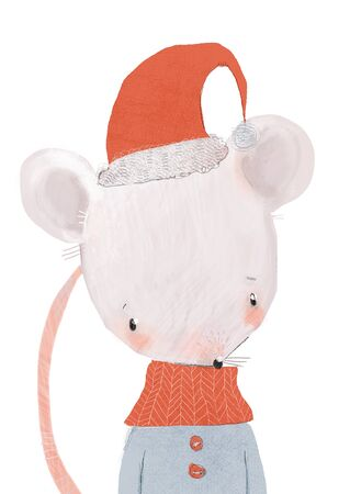 portrait of cute little mouse with hat and scarf Standard-Bild