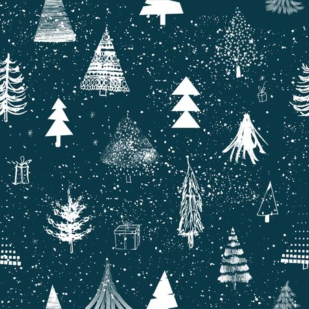 seamless lovely pattern with christmas trees Standard-Bild