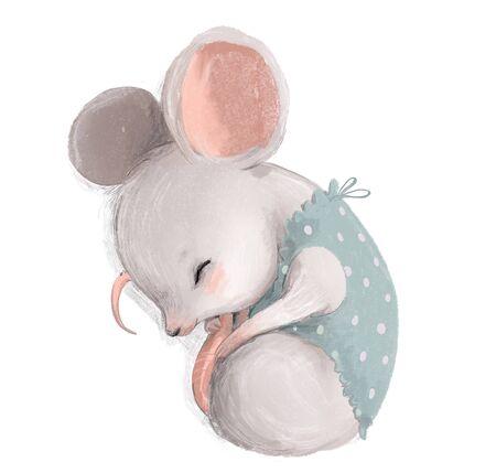 cute little mouse girl with blue dress sleeping Standard-Bild