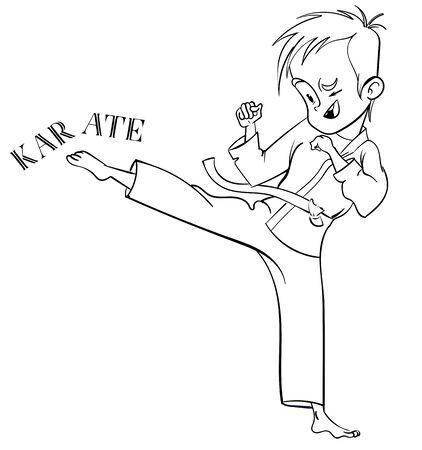 cute cartoon karate boy