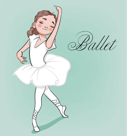 cartoon cute little ballerina with curly hairs Illustration