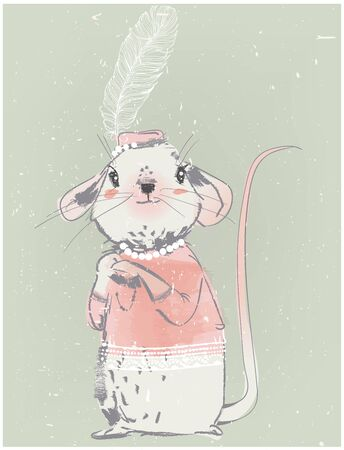 cute lady mouse girl with feather and pink dress Foto de archivo - 138472694