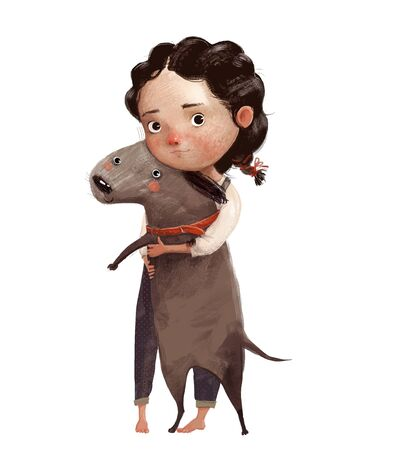 cute little girl with brown lovely dog