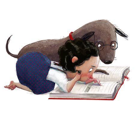 cute cartoon little girl with her dog