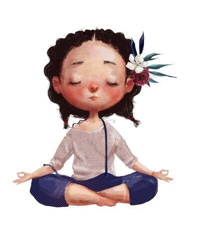 cute cartoon girl in yoga lotus pose Standard-Bild