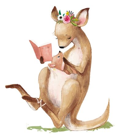 cute kangaroo mom with her kid reading