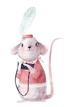 cute little mouse girl with blue sweater Standard-Bild